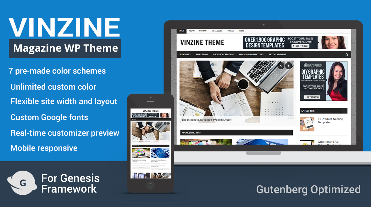 Vinzine Magazine WordPress Theme